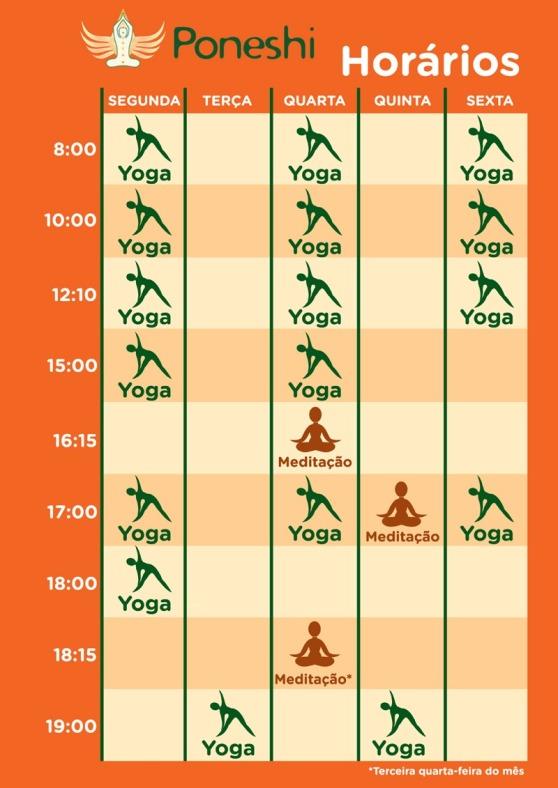 horários sem a meditação de terça-feira